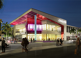 Rendering of cinema exterior at night