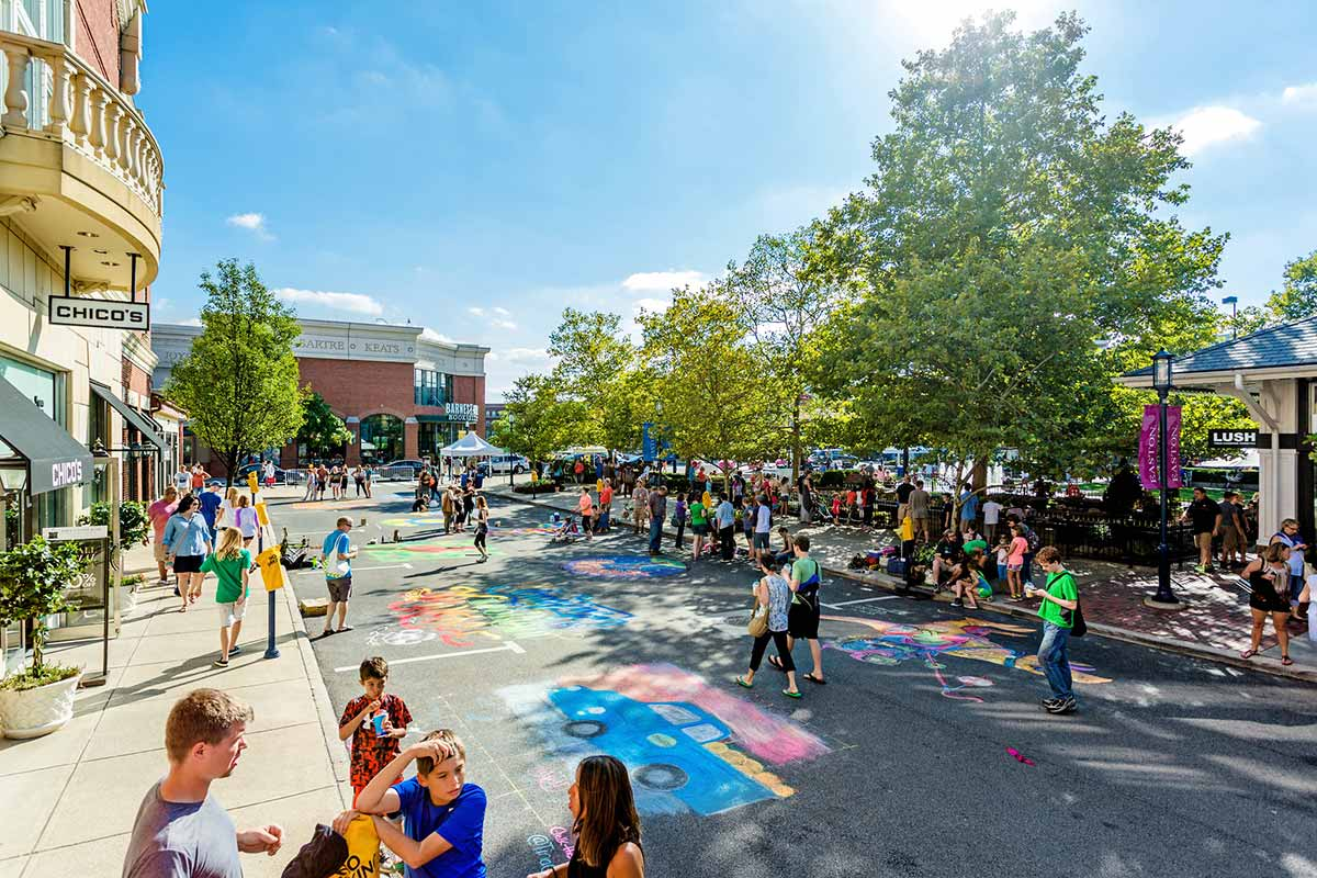 Chalk Art event around the town square at Easton Town Center.