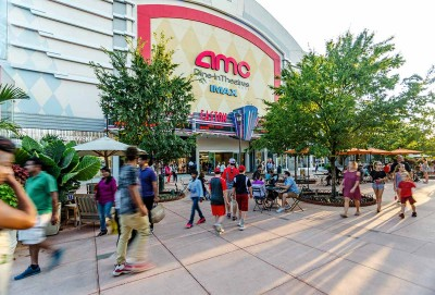 View of the entrance to the Easton AMC 30 Theatres at Easton Town Center in Columbus, Ohio.