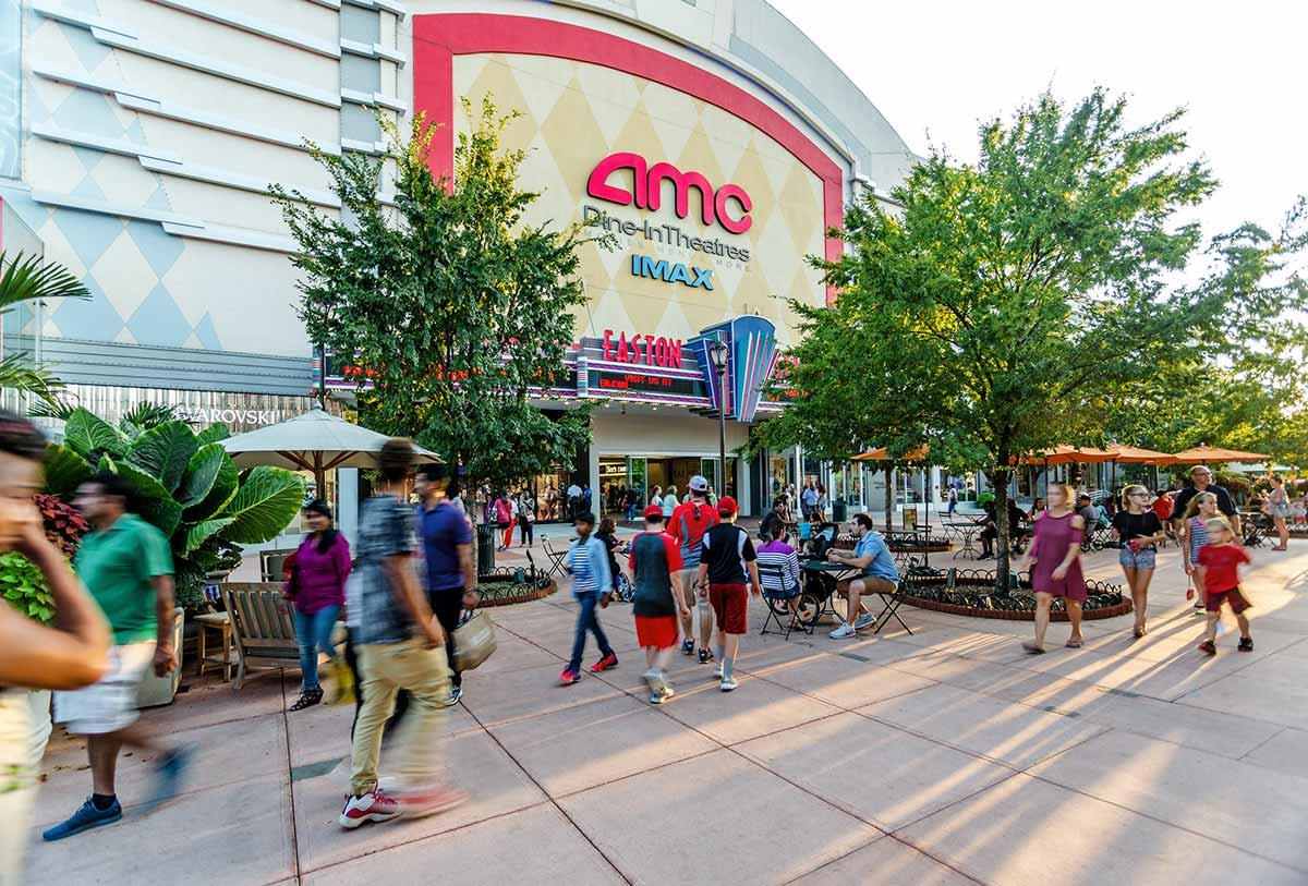 View of the entrance to the Easton AMC 30 Theatres at Easton Town Center in Columbus, Ohio.
