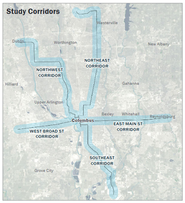Corridor Study Map generated for Columbus, Ohio.
