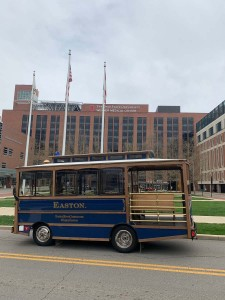 The Easton Trolley pulled up in front of The Ohio State University Wexner Medical Center.